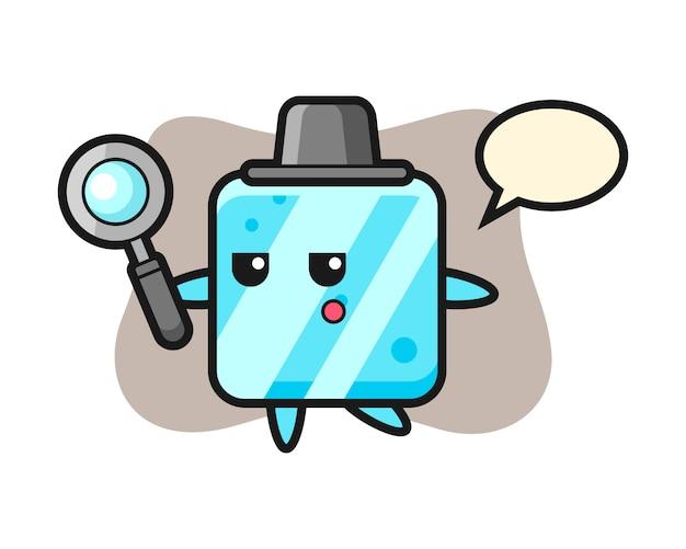 Personnage de dessin animé de cube de glace à la recherche avec une loupe
