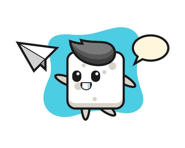 Personnage de dessin animé de cube de sucre jetant un avion en papier, style mignon pour t-shirt, autocollant, élément de logo