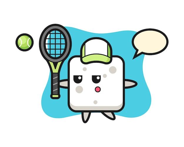 Personnage de dessin animé de cube de sucre en tant que joueur de tennis, style mignon pour t-shirt, autocollant, élément de logo