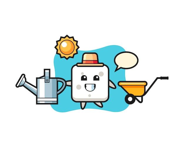 Personnage de dessin animé de cube de sucre tenant un arrosoir, style mignon pour t-shirt, autocollant, élément de logo