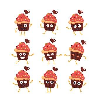 Personnage de dessin animé de cupcake - ensemble de vecteurs modernes d'illustrations de mascotte - dansant, souriant, s'amusant. émoticônes, bonheur, émotions, surprise, clignotement,