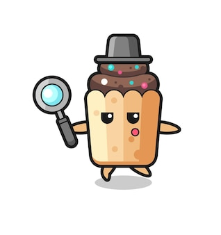 Personnage de dessin animé de cupcake recherchant avec une loupe, design mignon