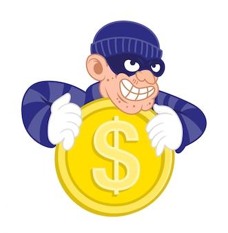 Personnage de dessin animé de dangereux voleur criminel.