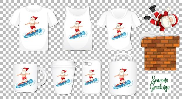 Personnage de dessin animé de danse du père noël avec ensemble de différents vêtements et accessoires