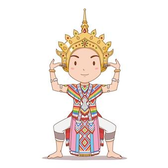 Personnage de dessin animé de danseur traditionnel thaïlandais dans le sud de la thaïlande. danse de manorah.