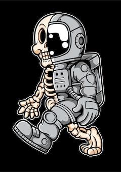 Personnage de dessin animé demi-crâne astronaute