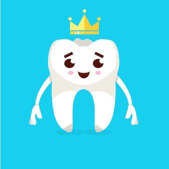 Personnage de dessin animé de dent souriante. concept de prévention des caries. illustration vectorielle.