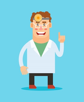 Personnage de dessin animé de dentiste.