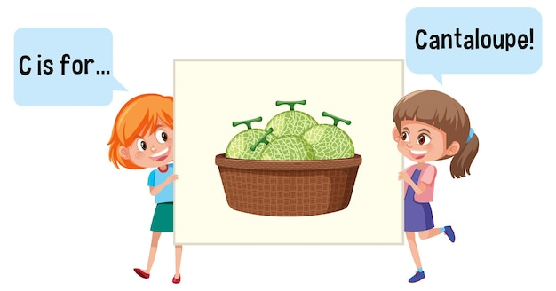 Personnage de dessin animé de deux enfants épelant le vocabulaire des fruits