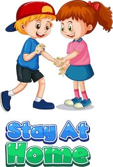 Le personnage de dessin animé de deux enfants ne garde pas de distance sociale avec la police stay at home isolée sur fond blanc