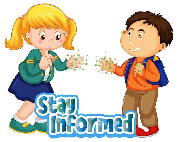Le personnage de dessin animé de deux enfants ne garde pas la distance sociale avec la police stay informed isolée sur fond blanc
