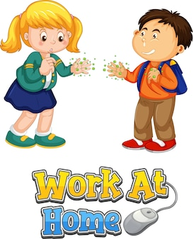 Le personnage de dessin animé de deux enfants ne garde pas de distance sociale avec la police work at home isolée sur fond blanc