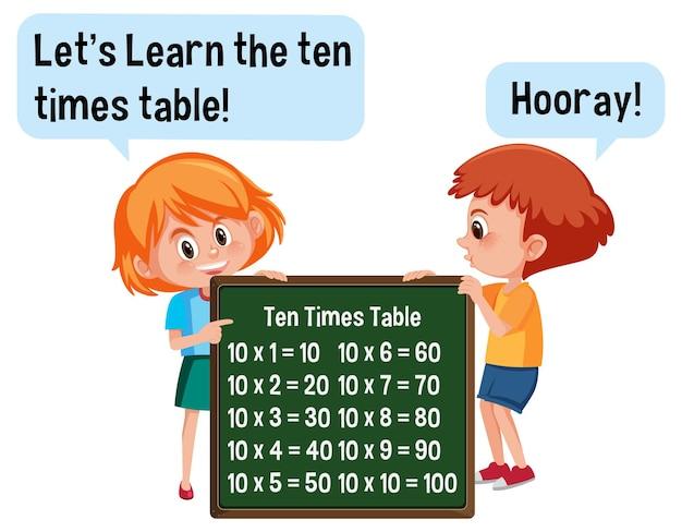 Personnage de dessin animé de deux enfants tenant une bannière de table dix fois