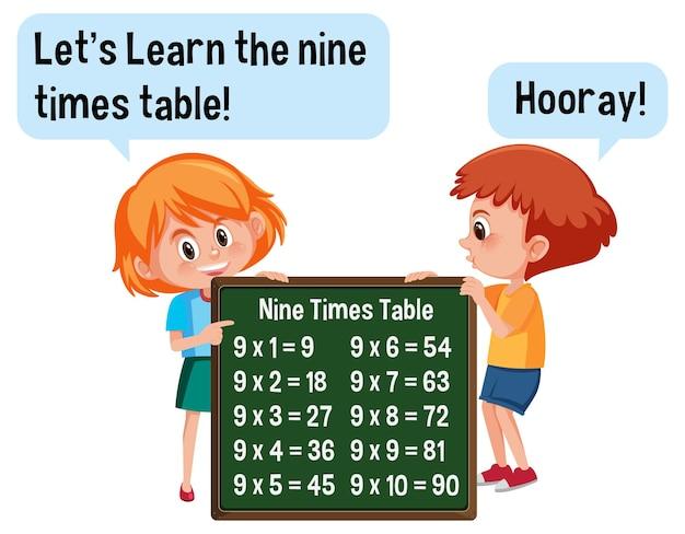 Personnage de dessin animé de deux enfants tenant une bannière de table neuf fois