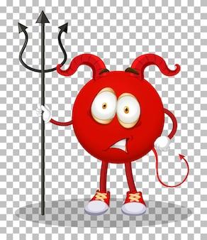Un personnage de dessin animé de diable rouge avec une expression faciale sur fond transparent