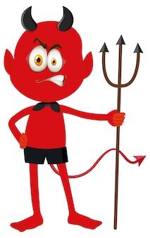 Un personnage de dessin animé de diable rouge avec une expression faciale