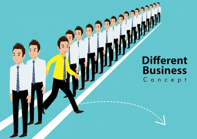 Personnage de dessin animé de différentes personnes. courez vers de nouvelles opportunités et concept de leadership