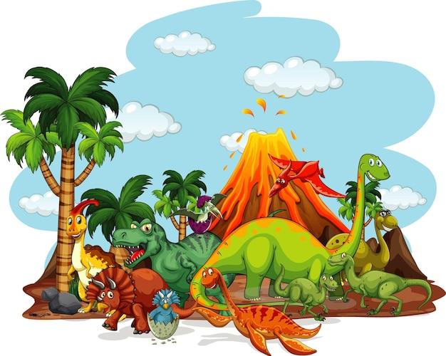 Personnage de dessin animé de dinosaures dans la scène de la nature