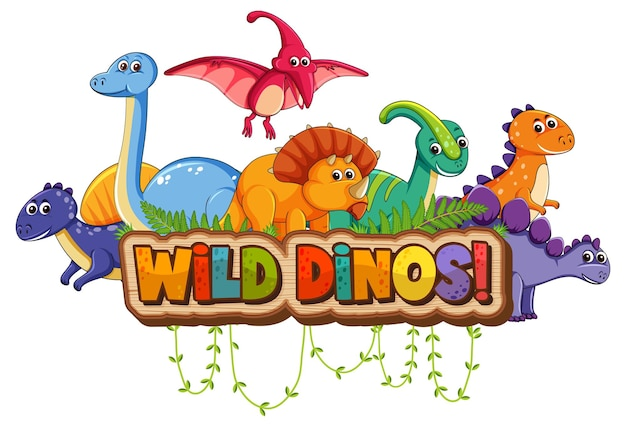Personnage de dessin animé de dinosaures mignons avec bannière de polices de dinos sauvages