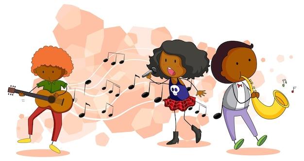 Personnage de dessin animé de doodle du chanteur et musicien avec des symboles de mélodie musicale