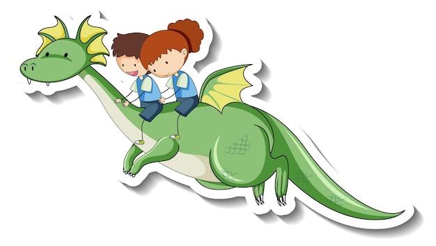 Personnage de dessin animé de dragon fantastique dans un style autocollant