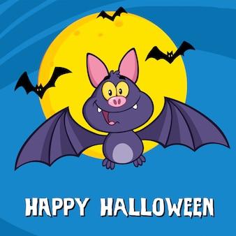Personnage de dessin animé drôle de chauve-souris vampire volant