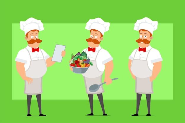 Personnage de dessin animé drôle chef cuisinier homme en uniforme blanc et chapeau de boulanger