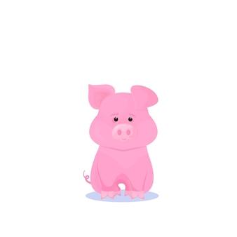 Personnage de dessin animé drôle de cochon rose. symbole du nouvel an chinois 2019.