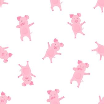Personnage de dessin animé drôle de cochon tamponnant. cochon dansant. porcelet mignon amusez-vous. modèle sans couture pour pépinière, textile, vêtements pour enfants.