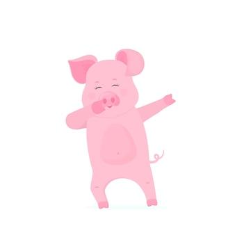 Personnage de dessin animé drôle de cochon tamponnant. cochon dansant. porcelet mignon amusez-vous.