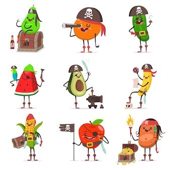 Personnage de dessin animé drôle de fruits pirate isolé