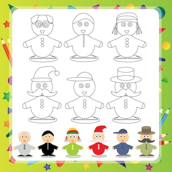 Personnage de dessin animé drôle - illustration vectorielle livre de coloriage - set