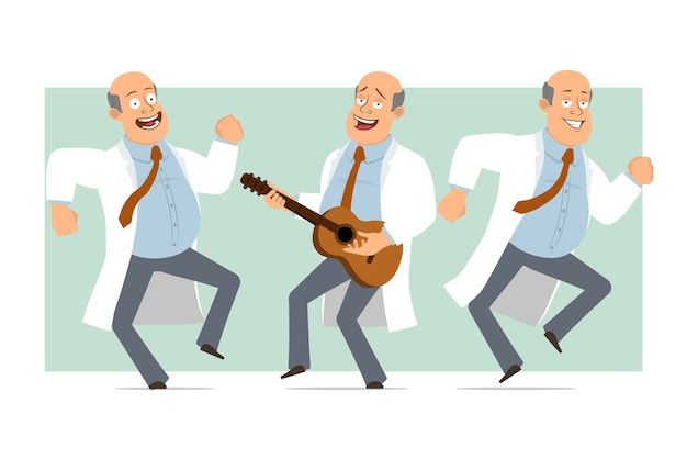 Personnage de dessin animé drôle plat drôle homme médecin chauve en uniforme blanc avec cravate. garçon sautant, dansant et jouant à la guitare. prêt pour l'animation. isolé sur fond vert. ensemble.