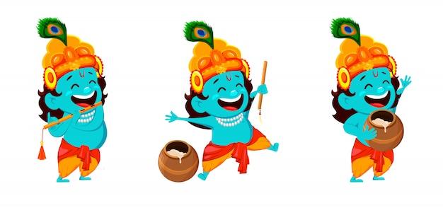 Personnage de dessin animé drôle seigneur krishna