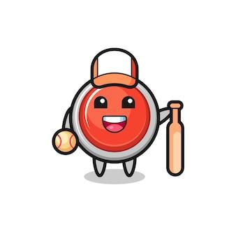Personnage de dessin animé du bouton de panique d'urgence en tant que joueur de baseball, design mignon