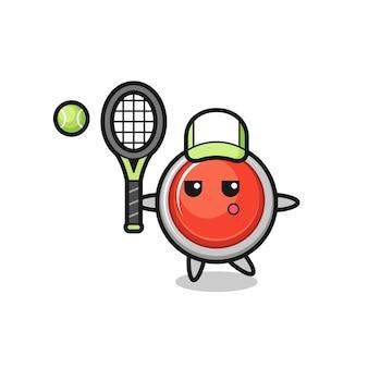 Personnage de dessin animé du bouton de panique d'urgence en tant que joueur de tennis, design mignon