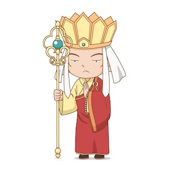 Personnage de dessin animé du moine bouddhiste chinois tang sanzang dans le roman voyage vers l'ouest