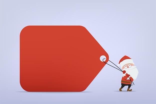 Personnage de dessin animé du père noël tirant une grosse étiquette rouge