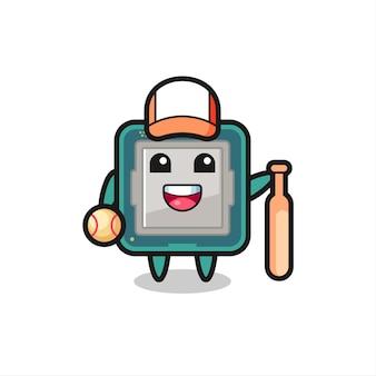 Personnage de dessin animé du processeur en tant que joueur de baseball, design de style mignon pour t-shirt, autocollant, élément de logo