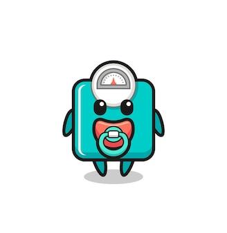 Personnage de dessin animé d'échelle de poids de bébé avec la tétine, conception mignonne de style pour le t-shirt, autocollant, élément de logo