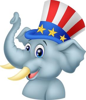 Personnage de dessin animé d'éléphant républicain