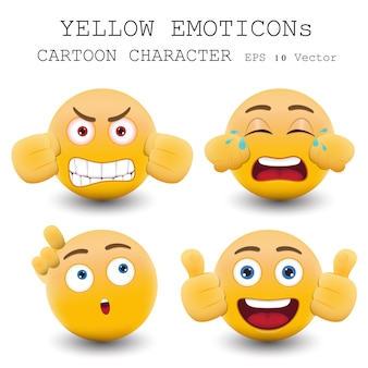 Personnage de dessin animé d'émoticône jaune