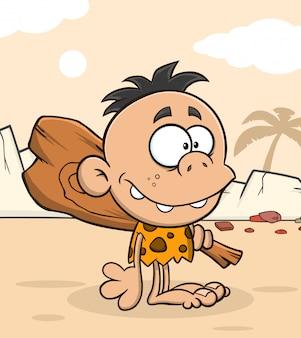 Personnage de dessin animé enfant caveman avec club. illustration