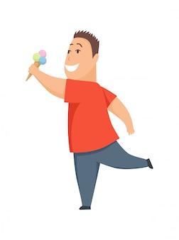 Personnage de dessin animé d'enfant grassouillet mignon garçon en surpoids, manger des glaces