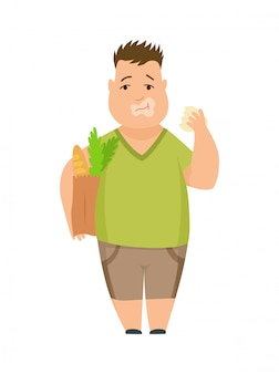 Personnage de dessin animé d'enfant grassouillet mignon garçon en surpoids