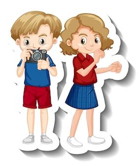 Personnage de dessin animé d'enfants de couple