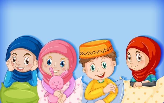 Personnage de dessin animé d'enfants musulmans