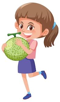Personnage de dessin animé enfants tenant des fruits ou des légumes