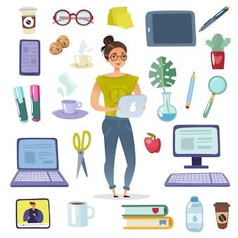 Personnage de dessin animé et ensemble d'accessoires de bureau.