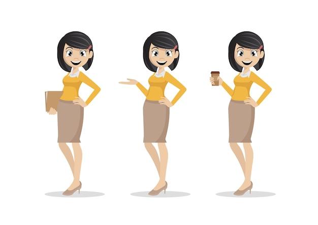 Personnage de dessin animé, ensemble de jeunes femmes d'affaires., vecteur eps10